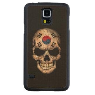 South Korean Flag Skull on Black Carved Maple Galaxy S5 Case