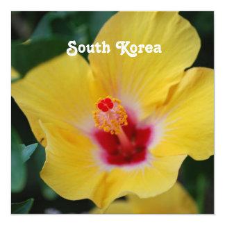 South Korean Hibiscus 13 Cm X 13 Cm Square Invitation Card