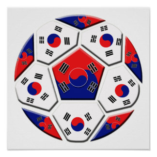 South Korean Soccer Ball flag of Korea Gifts Posters