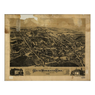 South Manchester Conn 1880 Antique Panoramic Map Print