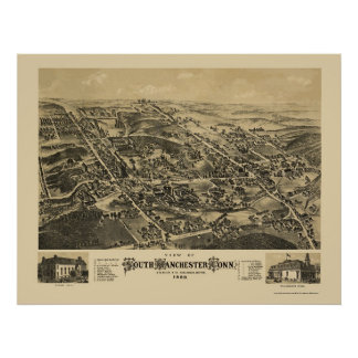 South Manchester, CT Panoramic Map - 1880 Poster