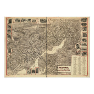 South Norwalk Conn.1899 Antique Panoramic Map Poster