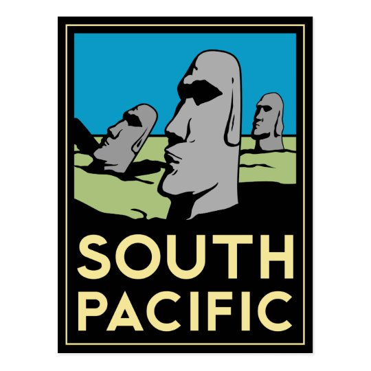 South Pacific Art Deco Travel Poster Postcard