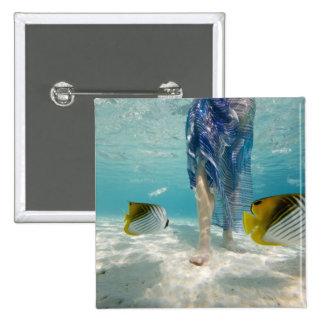 South Pacific, Bora Bora, female tourist walking 2 15 Cm Square Badge