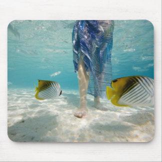 South Pacific, Bora Bora, female tourist walking 2 Mouse Mat