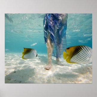 South Pacific, Bora Bora, female tourist walking 2 Print