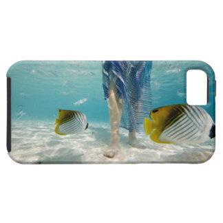 South Pacific, Bora Bora, female tourist walking 2 Tough iPhone 5 Case