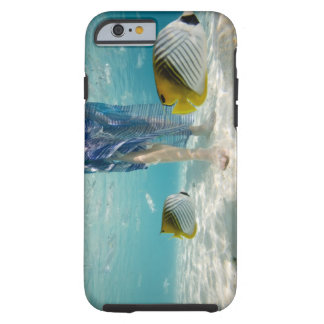 South Pacific, Bora Bora, female tourist walking 2 Tough iPhone 6 Case