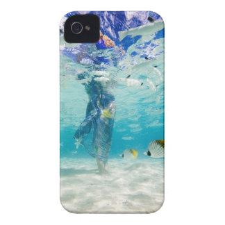South Pacific, Bora Bora, female tourist walking iPhone 4 Cover