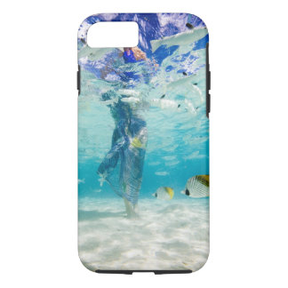 South Pacific, Bora Bora, female tourist walking iPhone 8/7 Case