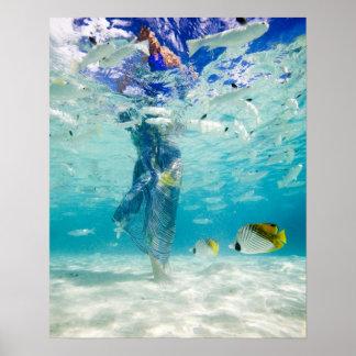 South Pacific, Bora Bora, female tourist walking Print
