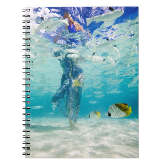 South Pacific, Bora Bora, female tourist walking Spiral Notebook