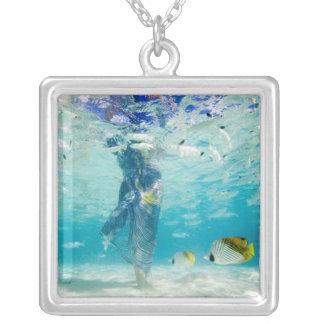 South Pacific, Bora Bora, female tourist walking Square Pendant Necklace