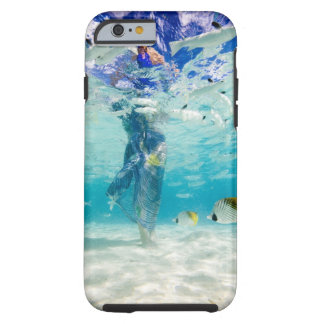 South Pacific, Bora Bora, female tourist walking Tough iPhone 6 Case