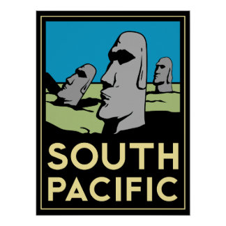 south pacific easter island art deco retro poster