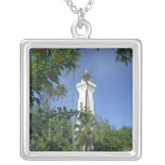 South Pacific, French Polynesia,Tahiti. Hibiscus 2 Square Pendant Necklace