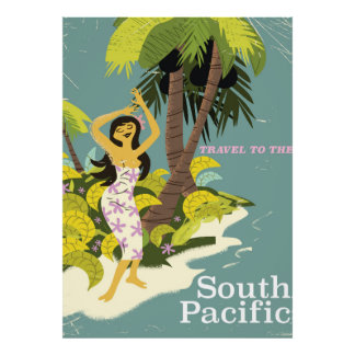 South Pacific vintage travel poster
