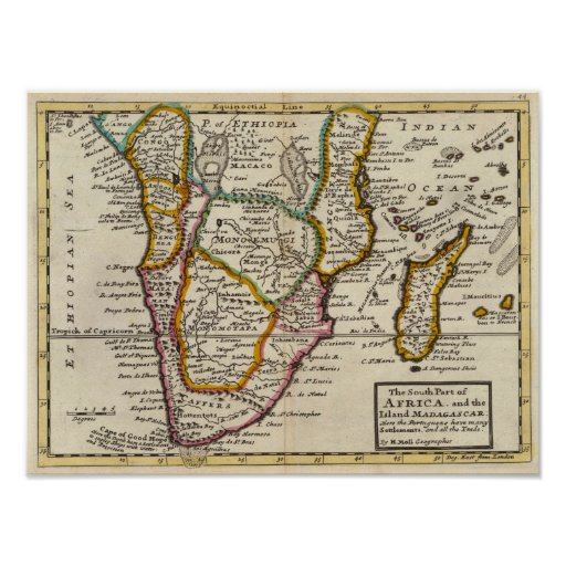 South part of Africa and Magadascar Print