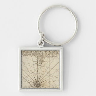 South part of St Domingo or Hispaniola Silver-Colored Square Key Ring