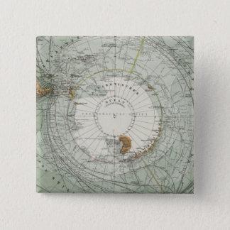 South Polar Region Map 15 Cm Square Badge