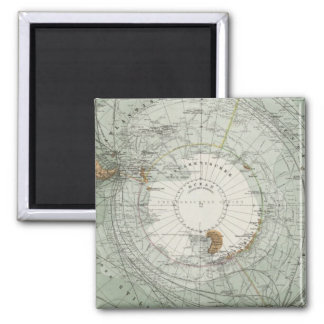 South Polar Region Map Square Magnet