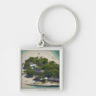 South Sea Island, Mamanuca Islands, Fiji Silver-Colored Square Key Ring