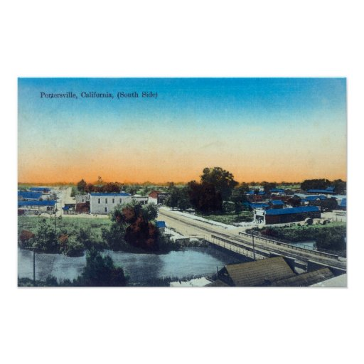 South Side Aerial View of TownPorterville, CA Print