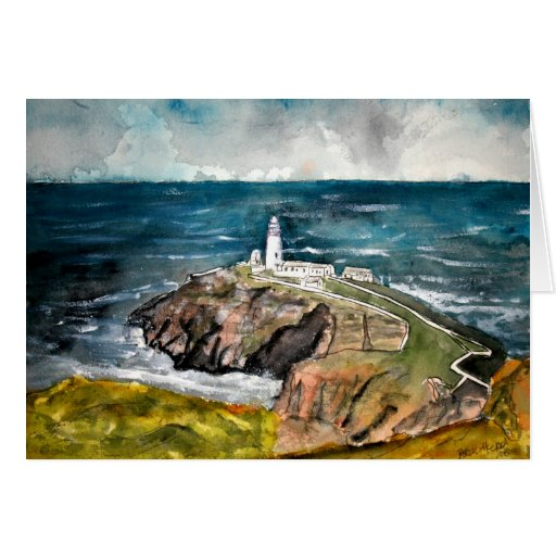 south stack lighthouse wales uk greeting card
