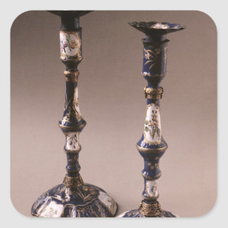 South Staffordshire pair of candlesticks, c.1765 Square Sticker