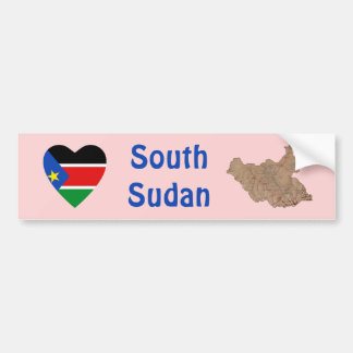 South Sudan Flag Heart + Map Bumper Sticker