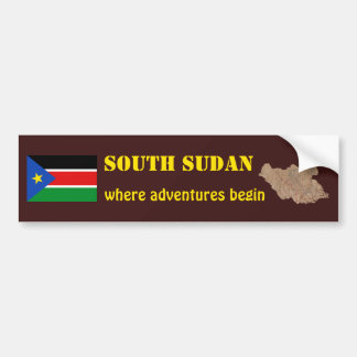 South Sudan Flag + Map Bumper Sticker