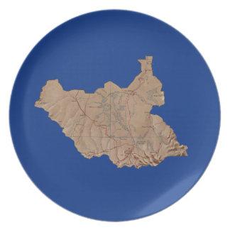South Sudan Map Plate