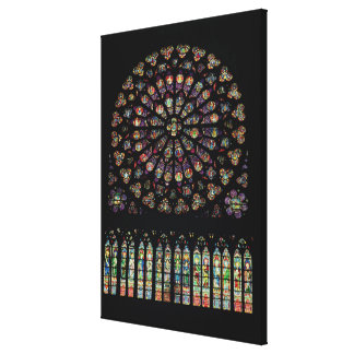 South transept rose window depicting Christ in the Canvas Print