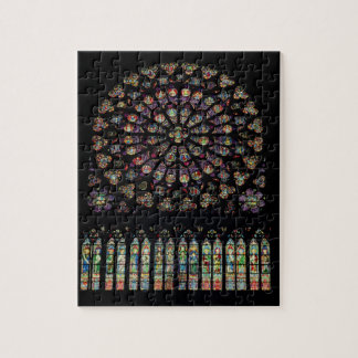 South transept rose window depicting Christ in the Jigsaw Puzzle