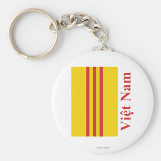 South Vietnam Flag with Name in Vietnamese Key Ring