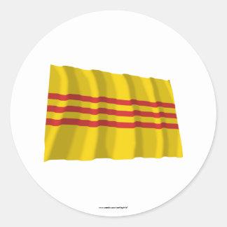 South Vietnam Waving Flag Classic Round Sticker