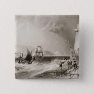 South Wall Lighthouse with Howth Hill 15 Cm Square Badge