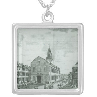 South West View of The Old State House Silver Plated Necklace
