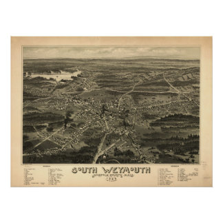 South Weymouth Mass. 1885 Antique Panoramic Map Poster