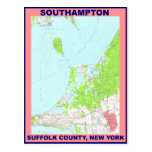 Southampton Village NY Vintage Map ca. 1956 Postcards