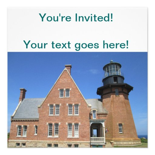 Southeast Lighthouse Building Block Island Personalized Invites
