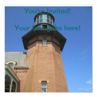 Southeast Lighthouse Tower Block Island 13 Cm X 13 Cm Square Invitation Card