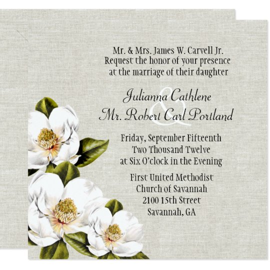 Southern Belle Magnolias Custom Wedding Invitation