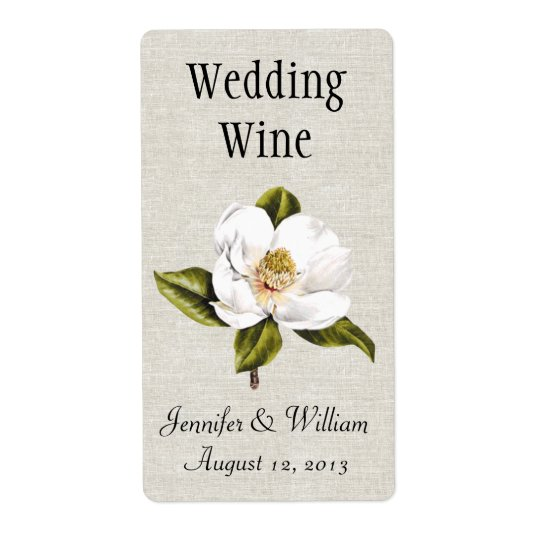 Southern Belle Magnolias Wedding Mini Wine Label