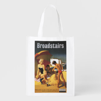 Southern British Railways Family on Beach Reusable Grocery Bag