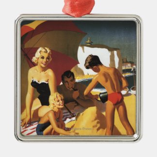 Southern British Railways Family on Beach Silver-Colored Square Decoration