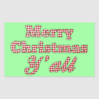 Southern Christmas Greeting Houndstooth Rectangular Stickers