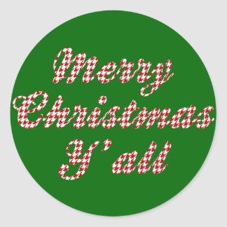 Southern Christmas Greeting Houndstooth Round Stickers