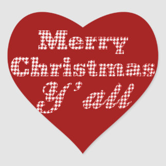 Southern Christmas Greeting Houndstooth Heart Sticker