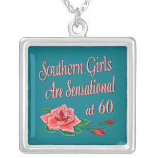 Southern Girl 60th Birthday Rose Collection Silver Plated Necklace